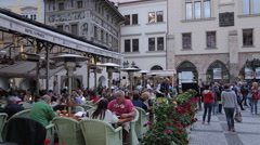 Restaurant in the Old Town Square, Prague, Czech Republic, Europe Stock Footage