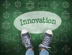 Innovation against green chalkboard - stock photo