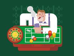 Stock Illustration of Gambler playing roulette