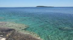 Flowerpot island shoreline. Georgian Bay, Tobermory, Ontario, Canada. Stock Footage