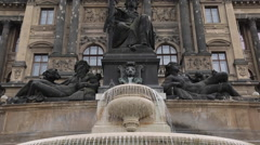 Fountain at the National Museum on Wenceslas Square, Prague, Czech Republic, Stock Footage