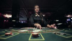 Losing at blackjack in casino Stock Footage