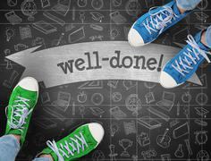 Well-done! against black background - stock photo