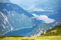 Stock Photo of Paragliding at the Dachstein Mountains