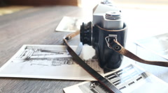 Old camera on a wooden table Stock Footage