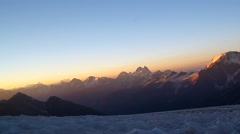 Panorama mountain peaks at dawn, the greatness and beauty of the Caucasus. Stock Footage
