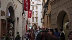 Town Hall & Passage to Old Town Square, Prague, Czech Republic, Europe Stock Footage
