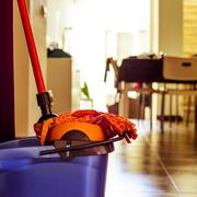mop and bucket, to clean the floor - stock photo