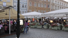 Colourful Buildings, Shops & Restaurants on Old Town Square, Prague, Czech - stock footage