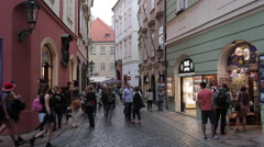 Colourful Buildings, Shops & Restaurants on Old Town Square, Prague, Czech Stock Footage