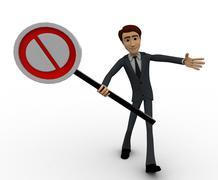 3d man holding no entry symbol concept Stock Illustration