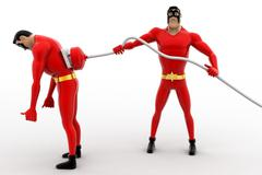3d superhero  charge other superhero  with electric plug concept - stock illustration