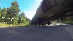 Cargo Train, Crossing Rail Crossing HD Stock Footage