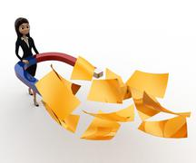 Stock Illustration of 3d woman attract golden paper with magnet concept