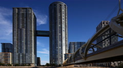 4K UltraHD Toronto's CityPlace condominiums with a connecting bridge Stock Footage
