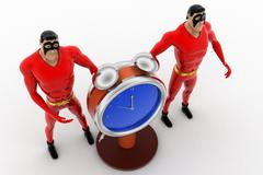 3d superhero  with stop watch concept - stock illustration