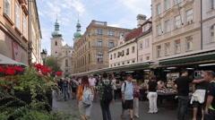 Market on Havelska, Prague, Czech Republic, Europe - stock footage