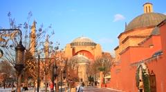Winter at Hagia Sophia Museum in Istanbul Stock Footage