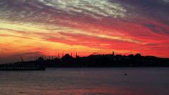 Sunset behind the historical peninsula Stock Footage