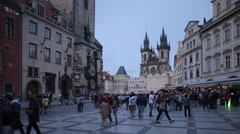 Town Hall & Church of Our Lady in the Old Town Square at Dusk, Prague, Czech Stock Footage