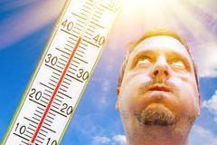 Man on a hot day - stock photo