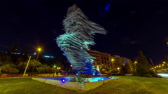 4K 30p The runner (Dromeas) sculpture in Athens,Greece, night timelapse Stock Footage