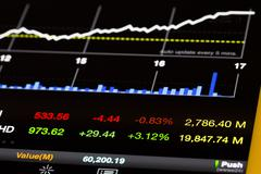 Stock Market Values and Chart Going Up open from Tablet Stock Photos