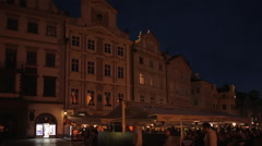 Town Hall & Restaurants in the Old Town Square at Dusk, Prague, Czech Republic, Stock Footage