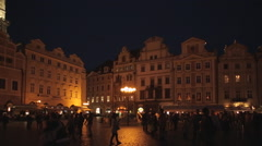 Church of Our Lady & Restaurants in the Old Town Square at Dusk, Prague, Czech - stock footage