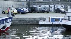 Prague Tourists on boats Stock Footage