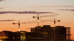 Construction on the sunset, time lapse Stock Footage