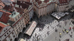 View from Town Hall Clock Tower, Old Town Square, Prague, Czech Republic, Europe Stock Footage