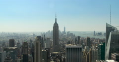 New York City, Manhattan, midtown aerial view with skyscrapers Stock Footage
