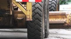 ROAD GRADER, tilt up - stock footage