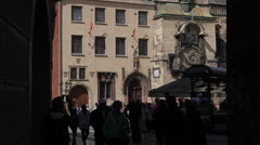 Town Hall Clock Tower & Old Town Square Passageway, Prague, Czech Republic, Stock Footage
