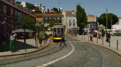 Portugal - Trams in the Alfama Neighborbhood in Lisboa (Lisbon) Stock Footage