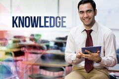 Knowledge against teacher with tablet pc in the class room Stock Photos