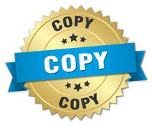 Stock Illustration of copy 3d gold badge with blue ribbon