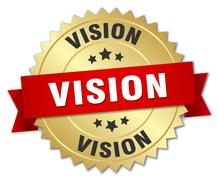 Stock Illustration of vision 3d gold badge with red ribbon