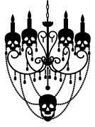 Chandelier with skulls - stock illustration