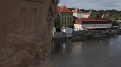 River Boats and the Vltava from Charles Bridge, Prague, Czech Republic, Europe Stock Footage