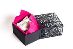 Black gold purple underwear box - stock photo
