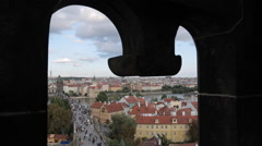 View from Charles Bridge, Prague, Czech Republic, Europe Stock Footage