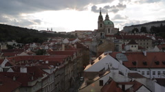 View of Castle District with St. Vitus Cathedral and Royal Palace, from Charles Stock Footage