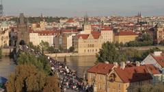 View of Old Town, Vltava & Charles Bridge from Charles Bridge, Prague, Czech Stock Footage