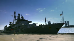 German warship in the port of Riga Stock Footage