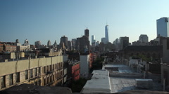 New York Freedom Tower from a Soho Rooftop with Birds (Urban, HD) Stock Footage