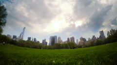 Moody Time-lapse of The Manhattan skyline from Sheep's Meadow in Central Park - stock footage