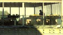 Anonymous waiter silhouette summer terrace restaurant Stock Footage
