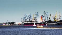 Port views. The ship, many working crane, train wagons, Coal MountainsPort views Stock Footage